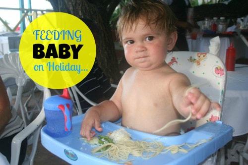feeding baby on holiday