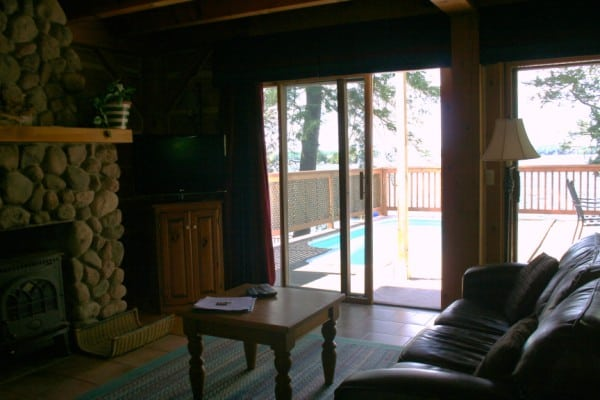 Irwin Inn Cedarwood Fireplace and Deck View